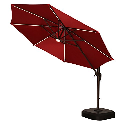 11 Ft Solar Offset Beige Patio Umbrella Patio Umbrella