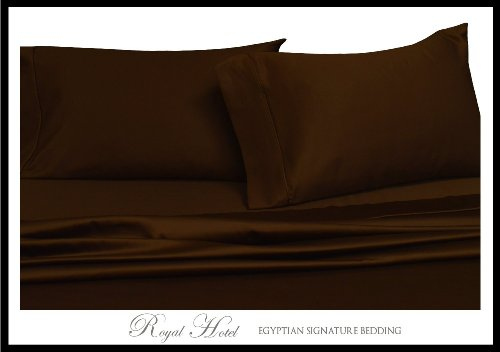 Royal Hotel'S Solid Chocolate 300-Thread-Count 3Pc California-King Duvet-Cover 100-Percent Egyptian Cotton, Sateen Solid, 100% Cotton front-570636
