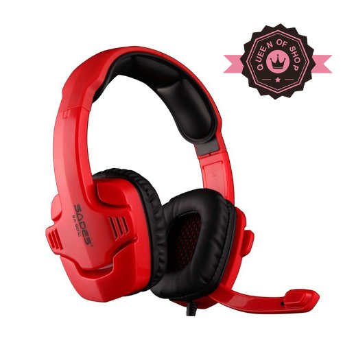 Sades Sa901C Red 7.1 Surround Pro Usb Strong Bass Lol Cf Gaming Computer Headphone With Mic Headband Headphone