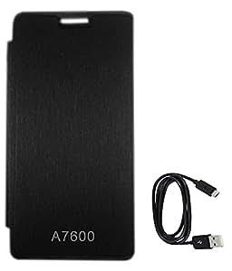 TBZ Flip Cover Case for Lenovo A7600 with Data Cable -Black