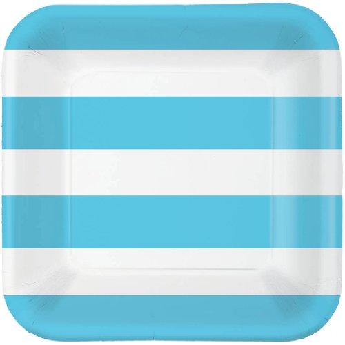 Caribbean Blue Cabana Stripe Dessert Plates (40ct)
