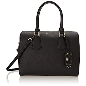 Calvin Klein Leather Satchel Top Handle Bag,Black/Gold,One Size