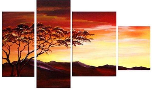 Sangu Wood Framed African Bluffs Home Decoration Modern Oil Painting Gift On Canvas 4-Piece Art Wall Decor