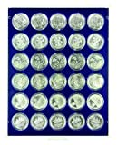 Münzbox mit 30 Vertiefungen á 37 mm Ø für verkapselte Münzen (Lindner 2537M) Marine (Grauer Schuber, blaue Veloureinlage) von Lindner Falzlos