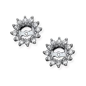 14K White Gold 1/2 ct. Diamond Earring Jackets