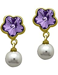 Mahi With Swarovski Elements Valentine Purple Floral Pearl Gold Plated Earrings For Women ER1104098GPur