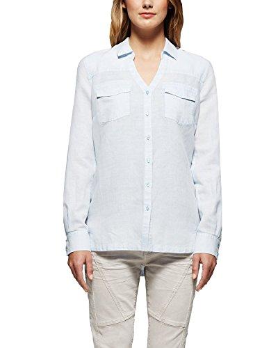 Comma CI Damen Regular Fit Bluse 88.504.11.2389, Gr. 42, Blau (icy blue 5310)