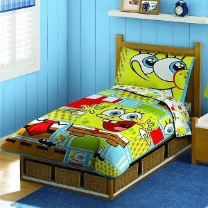 Spongebob Squarepants 4 Piece Reversible Comforter Toddler Bedding New
