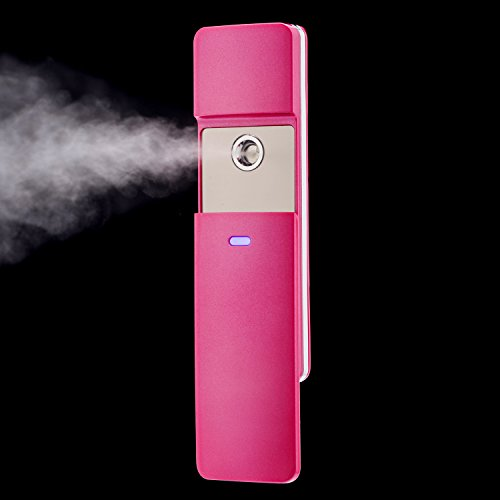 PleasingCare® Rechargeable Sliding Nano Facial Steamer - Handy Mirror Moisture Ionic Mist Sprayer - Best Dry & Oil Skin Treatment - Moisturizing & Whitening - Love It or Your Money Back! (Pink) (Steamer Oil compare prices)