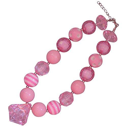 Pink Diamond Girls Chunky Bead Necklace (Adult Princess Bubblegum Costume)
