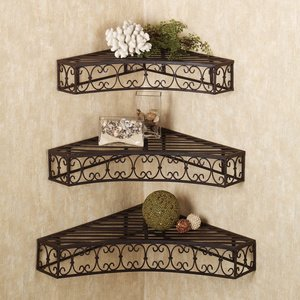 Tuscan Wrought Iron Metal Corner Wall Shelves Set of 3