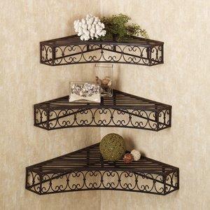 tuscan wrought iron metal corner wall shelves. Black Bedroom Furniture Sets. Home Design Ideas