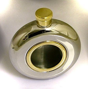 Round 5oz Stainless Steel Hip Flask with Window