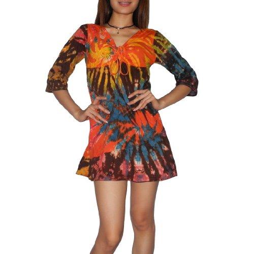 Women Thai Exotic Fashion Cute Stretchy Cotton Three-Quarter-Sleeve Dress - Size: M-L