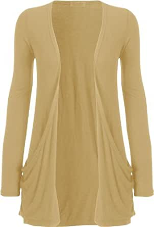 WOMENS BOYFRIEND OPEN POCKET CARDIGAN SIZE 8 10 12 14 (M/L (UK 12-14), BEIGE)