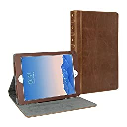 iPad Pro Case, GMYLE Book Case Vintage Brown Leather Multi-angle Folio Stand Cover for Apple iPad Pro 12.9\