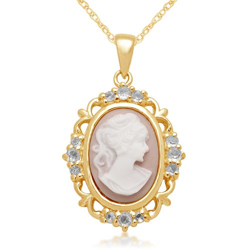 Sterling Silver Created White Sapphire and Pink Cameo Pendant Necklace