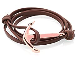OutDazzle Brown Leatherite ANCHOR Men Bracelet - Rose Gold