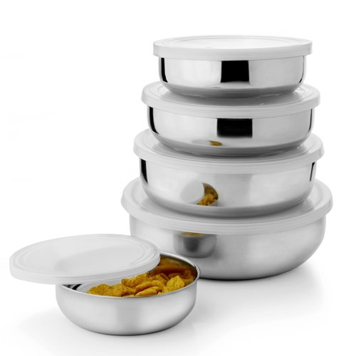 Shivom Stainless Steel Air Tight Lid Bowl Set Of 5 Pcs