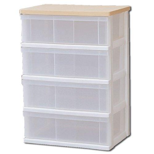 IRIS Ohyama wood top chest N544 white / pair