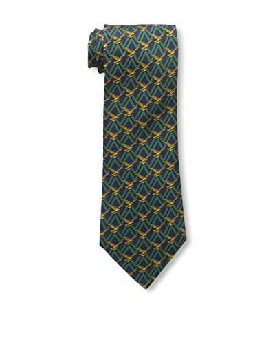 Hermès Men's Patterned Silk Tie, Blue/Green