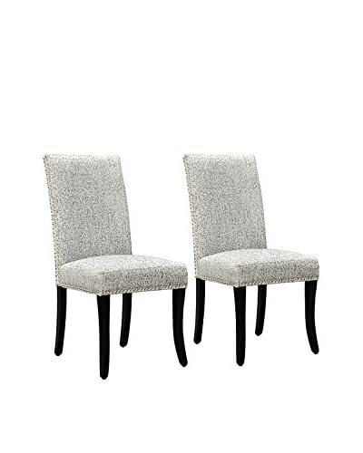 Armen Living Set of 2 Nailhead Side Chairs, Light Grey