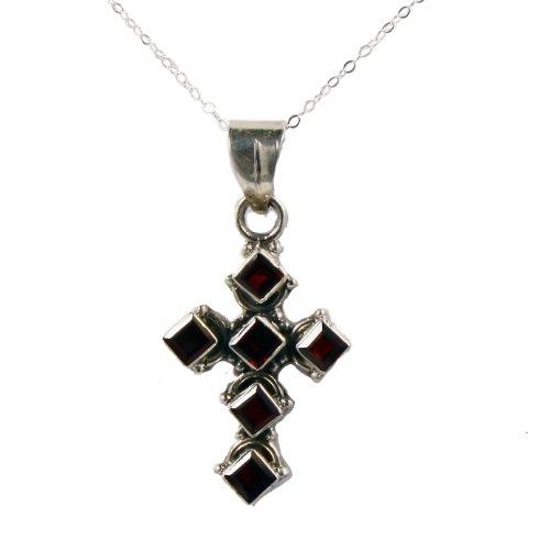 Sterling silver Garnet cross pendant necklace on 18