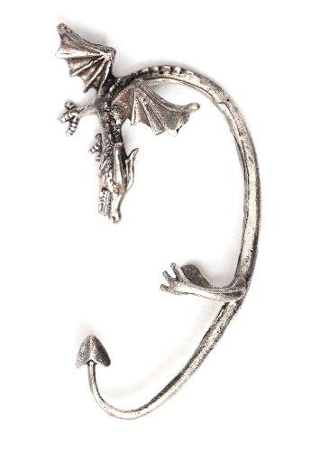 Wyvern Dragon Earring Ear Cuff Metal Wrap Ancient Wyrm Silver Tone Fantasy Fashion Jewelry