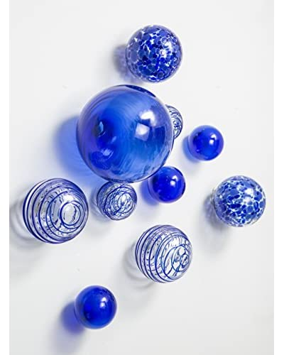 Worldly Goods Set of 10 Glass Wall Spheres, Cobalt As You See