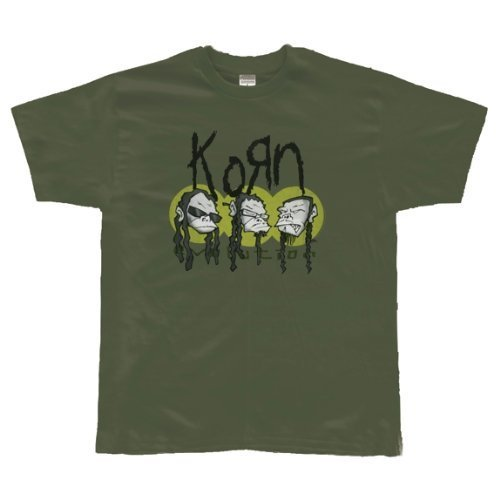 Korn 'Evolution' Monkey Head army green t-shirt (Large)
