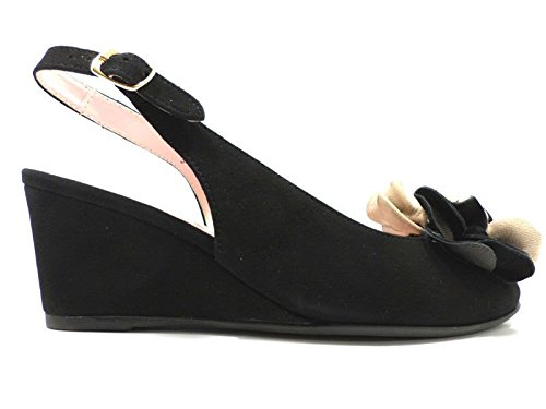 Scarpe donna LE BABE 36 sandali nero camoscio AT255