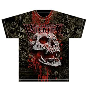 Rockmerchnow Bullet For My Valentine - Bloodskull Allover Print T-Shirt, Small