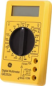 GE Multimeter, Digital 17 Range 6-Function Non-Recording, Yellow 50953