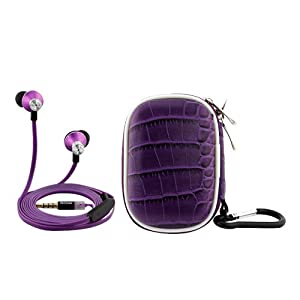 iKross Purple In-Ear 3.5mm Noise-Isolation Stereo Earphones With Handsfree Microphone Headset + Purple Headset Carry case for Barnes & Noble Nook HD+ 9; Fuhu NABI Jr. (5 Inch), NABI2-NV7A (7 Inch) Tablet Smartphone Cell Phone and MP3 Player