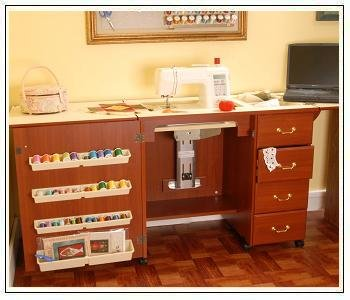 Arrow Sewing Cabinet Marilyn Sewing Machine Storage with Airlift - Cherry Finish