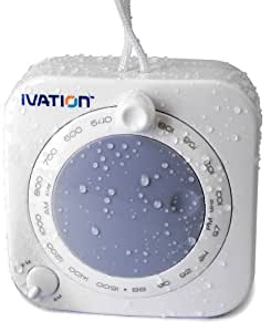 Ivation Battery-Powered Splashproof AM/FM Radio with Hanging Strap (Grey) - Great for Shower, Jogging, Hiking, Camping etc.