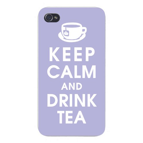 Apple Iphone Custom Case 5 5S Snap On - Keep Calm And Drink Tea W/ Teacup On Blue