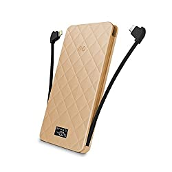 iWalk Rechargeable Battery Backup 6000mAh with built-in Lightning and Micro USB Cables - Champagne (UBO6000-017A)