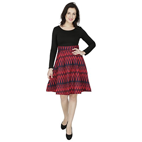 SVT ADA COLLECTIONS POLY VISCOSE BLACK & RED PRINTED ELEGANT ONE PIECE DRESS (0915023001_Red_Medium)