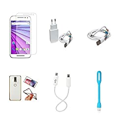 High Quality Combo of Moto G3 Temper Glass + 1 Amp USB Charger + USB Data Cable + Attractive Back Cover (Transparent Back with Golden Border) + Android to Android Charging Cable