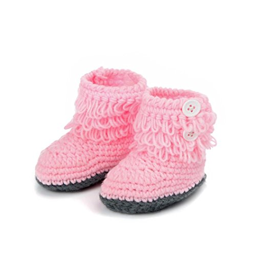DZT1968® Baby Girl Crochet Knit Keep Warm Floor Socks Shoes Boots (3-12 Months) (Pink)