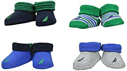 Nautica Baby Boys\' 4 Pack Assorted Booties, Green/Blue, 0-6 Months
