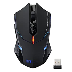 VicTsing New USB 7 Buttons Wireless Professional Game Gaming Optical Mouse Mice 800/1200/1600/2000/2400 DPI Adjustable for PC Laptop Desktop Notebook - Black