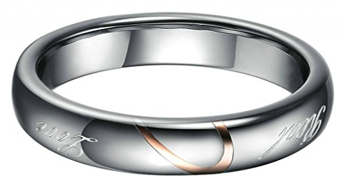 """Bishilin Women'S Tungsten Carbide Steel Rings Hers """"Real Love"""" Wedding Bands Hearts Promise 4Mm Us 8"""