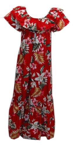 Jade Fashions Inc. Women Hawaiian Long Double Ruffle Red Orchid Muumuu-Red-4XL