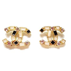 Elegant Chanel Nude Color Crystal Stud Earrings (Size : 1.7cm*2cm)