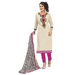 Pavani Women's Cotton Semi Stitched Dress Material (D1500068_Cream_Free Size)