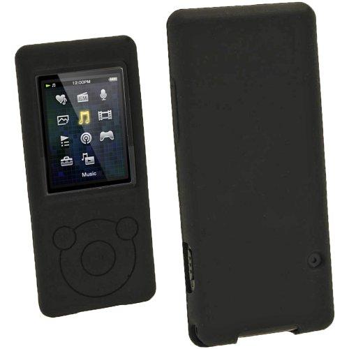 igadgitz Noir Étui Housse Silicone pour Sony Walkman NWZ-E473 NWZ-E474 NWZ-E574 NWZ-E575 E-Series Video Lecteur MP3 4/8/16GB (NWZ-E474B, NWZ-E574B, NWZ-E575B, NWZ-E473K) + Protecteur d'écran