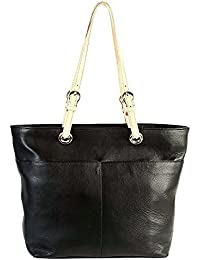 JL Collections Women's Leather Black Shoulder Bag