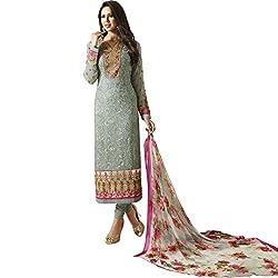 Vasu Saree Grey Georgette Straight Churidar Suit